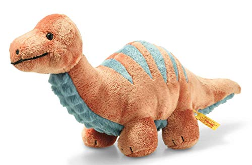 Steiff 087837 Original Plüschtier Bronko Brontosaurus, Soft Cuddly Friends Kuscheltier ca. 28 cm, Markenplüsch mit Knopf im Ohr, Schmusefreund für Babys von Geburt an, Dunkelorange und Petrol