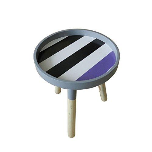 CVHOMEDECO. Portátil moderna de madera redonda mesa de café extraíble pequeño Accent mesa CKD mesa auxiliar con 3 patas desmontables. Dia.29,8 X H 34,9 cm