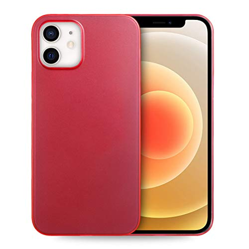 doupi UltraSlim Custodia per iPhone 12 / iPhone 12 PRO (6,1 Pollici), Satinato fine Piuma Facile Mat Semi Trasparente Cover, Rosso