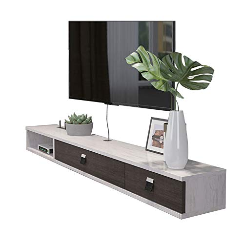 YYHSND Wall-Mounted TV Rack Shelf Cabinet Media Entertainment Console Game Shelving Unit with 3 Drawers Home Furniture Wall Mount Shelf (Color : Gray+White, Size : 140cm)