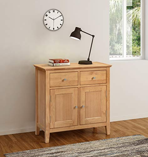 Hallowood Hereford Small Sideboard in Light Oak Finish | Compact Storage Dresser/Cupboard/Cabinet | Solid Wood Unit, HRE-SID750
