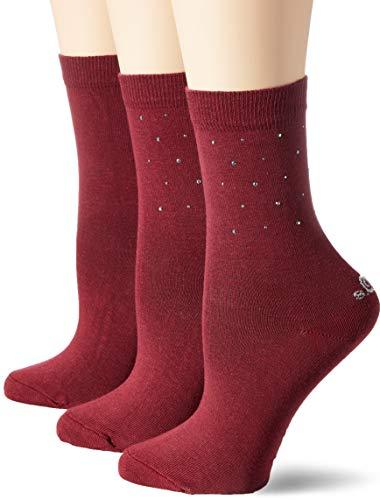 s.Oliver Socks Damen S20548 Socken, Rot (Ruby Red 3750), 35/38 (3er Pack)