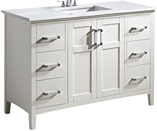 Simpli Home NL-WINSTON-WH-48-2A Winston 48 inch Contemporary Bath Vanity in Soft White with Bombay White Engineered Quartz Marble Top