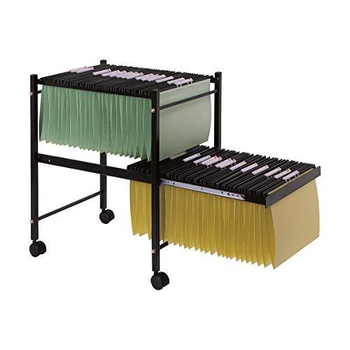 Q-Connect - Carrito para Carpetas Colgantes Negro con Ruedas y Bandeja Inferior Extraíble para Carpetas Tamaño Folio, 65 x 45 x 54 cm