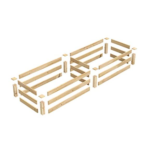 Greenes Fence 2 Ft. X 8 Ft. X 10.5 In Raised Garden Kit, Cedar 3 Made in the USA from naturally rot- and insect-resistant cedar. The wood is 100% chemical free Boards slide into the corner posts without tools forming a secure garden frame. To install the decorative tops simply use a screw driver. Stacking 2 of these makes your garden 21 inches tall (each kit sold seperately).