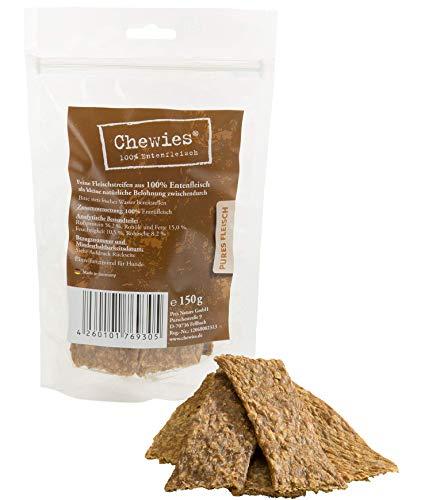 Chewies Hundesnack aus 100 % Ente - 8 x 150 g - Fleischstreifen für Hunde - luftgetrocknete Entenfleisch Kaustreifen - hypoallergen und getreidefrei - Dörrfleisch von der Ente (1,2 kg)