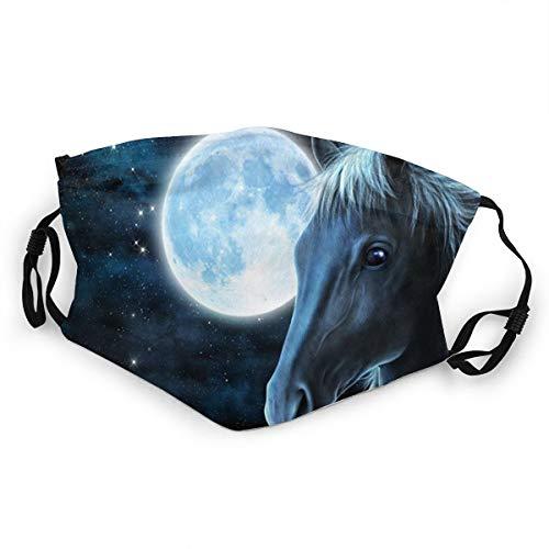 Kinder Mundschutz Schwarz Nacht Mond Pferd Galaxie Kinder Verstellbares Gesicht Anti-Staub für Jungen Mädchen Gr. Einheitsgröße, Schwarz