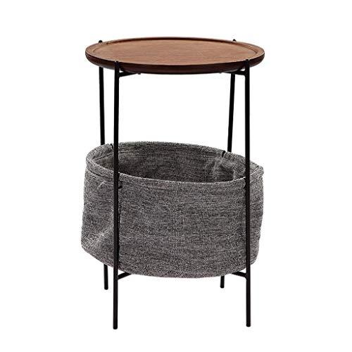 H-ei Simple Mini Mesa de Centro Moderna pequeña Cesta de Tela de Madera Maciza Marco de Metal Nuevo