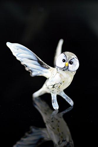 Sneeuwuil met gespreide vleugels - polaruil figuur van glas - staande glazen figuur - vogel witte uil vleugels 3- sneeuw- decoratie