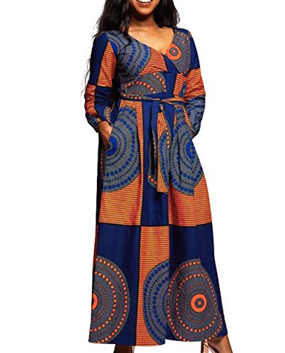 VERWIN African Print V Neck High Waist Color Block Evening Dress Wrap Maxi Dress Orange XXL