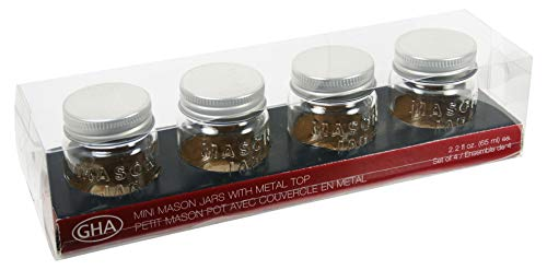 Grant Howard 51019 Mini Mason Emboss Jar 22 oz Set of 4 per Gift Box