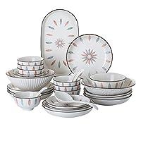 セラミック食器セット、縦線シリアルボウルとステーキプレート| レストラン用46点和風手描き磁器ディナーセット
