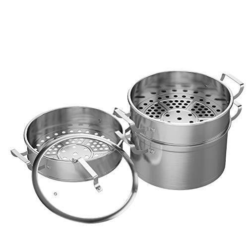 COSTWAY Dampfgarer mit 3 Behältern und Glasdeckel, Dampftopf aus Edelstahl, Gardampfkochtopf Set induktionsgeeignet