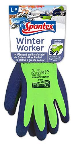 Spontex Winter Worker Handschuhe, Arbeitshandschuhe mit Innenfütterung für hohen Kälteschutz, mit Latexbeschichtung, Größe L, 1 Paar