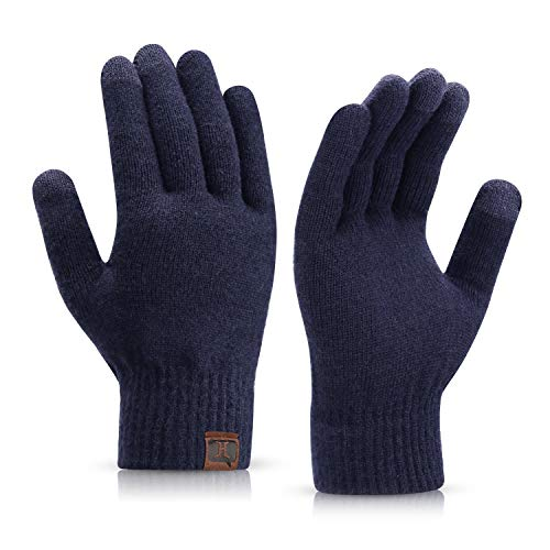 mysuntown Winterhandschuhe Warm gestrickte Handschuhe Touchscreen-Handschuhe für Männer und Frauen Thermal Sanft Beschichtung Elastisch Fäustling (Marine)