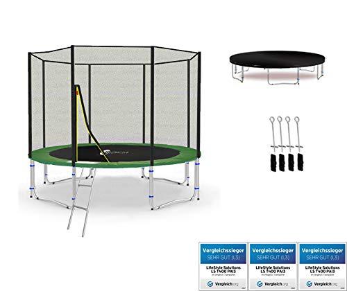 LifeStyle ProAktiv LS-T305-PA10 (GD) Deluxe Trampoline de Jardin - 305 cm - 10ft - Fort Filet de Sécurité - 180kg Capasite - New