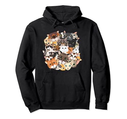 Amantes de los gatitos Amantes de los gatos Collage de gatos Sudadera con Capucha