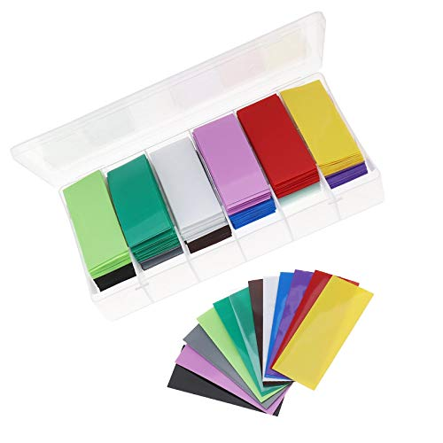 360pcs Schrumpfschlauch Flach PVC Schrumpfschlauch Heat Shrink Tube Kleber Schrumpfschläuche Sortiment Batterie-Verpackungs für Akku 18650 12 Farben