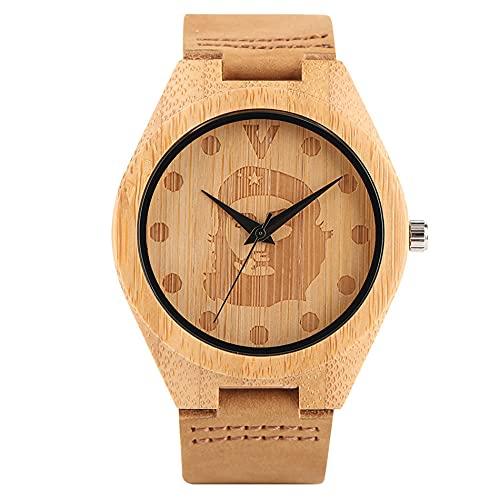 RWJFH Reloj de Madera Reloj de Pulsera para Hombre conEsferaRedondagrabada, Pulsera de Cuero marrón de Cuarzo, Reloj de Madera Informal para Hombre