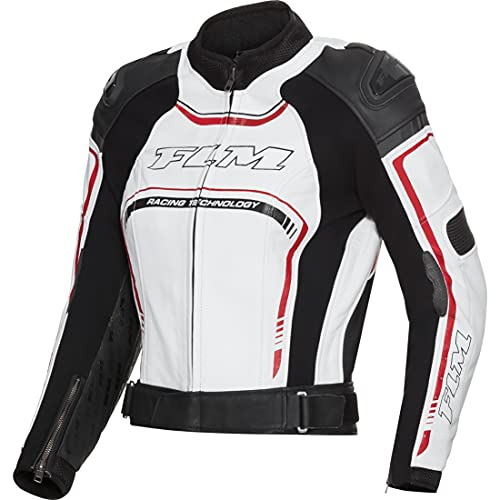 FLM Motorradjacke mit Protektoren Motorrad Jacke Sports Damen Lederkombijacke 3.1 schwarz/weiß 36, Sportler, Ganzjährig