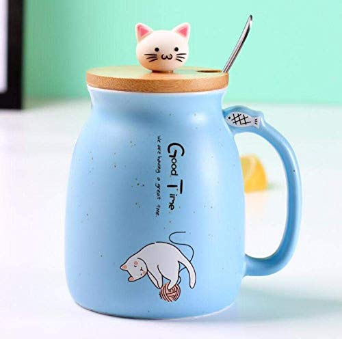 LIZANAN Taza de cerámica creativa resistente al calor de dibujos animados taza con tapa cuchara taza de café gatito taza de cerámica taza de la oficina de los niños lindo gato beber fuente taza regalo