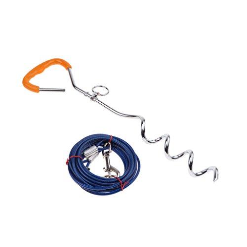 HomeDecTime Anlegepflock Mit Hundeleine, Haustier Hunde Bodenanker Erdanker Mit - 6mm x 5m Blau