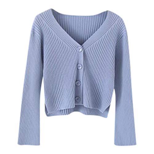 Lulupi Crop Pullover Damen Dünne Strickjacke Kurz, 2021 Herbst Winter Feinstrick Pulli V-Ausschnitt Strickpullover Tops Langarm Sweater Teenager Mädchen