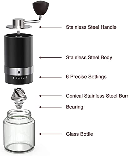 Manual Coffee Grinder,Stainless Steel Portable Conical Burr Grinder-6 Adjustable Setting Hand Crank Coffee Bean Mill for Espresso,French Press, Aeropress Coffee Grinder, Friends Birthday Gift