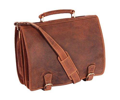 Mens Real Leather Messenger Satchel Organiser Laptop Bag Briefcase Vintage HALL Oil Tan