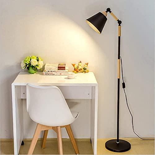 Lámpara de pie moderna de pie ajustable con cuello de cisne para tareas,lámpara de pie retro para dormitorio,sala de lectura,piano,lámpara de pie de madera maciza giratoria plegable con interrupt