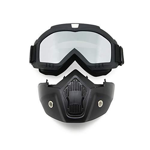 Gafas de moto con máscara desmontable, estilo Harley, protección acolchada, gafas de sol, gafas UV de moto, Unisex mujer, Mirror Lens