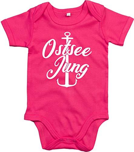 Kleckerliese Body à manches courtes pour bébé garçon Motif mer Baltique Jung Anker - Rouge - 6-12 mois