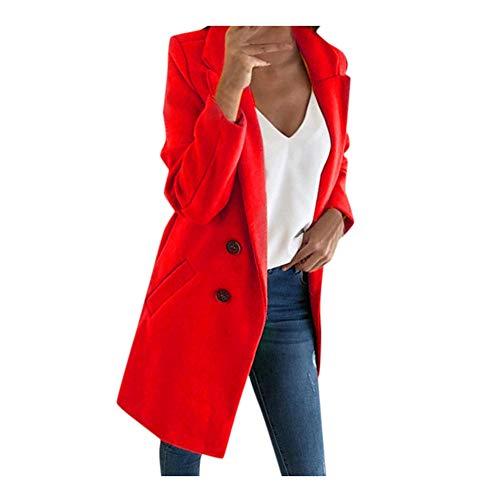 iHENGH Damen Frau Langen Wollmantel Elegante Mischung Mäntel schlanke weibliche Langen Mantel Oberbekleidung Jacke(Rot, M)