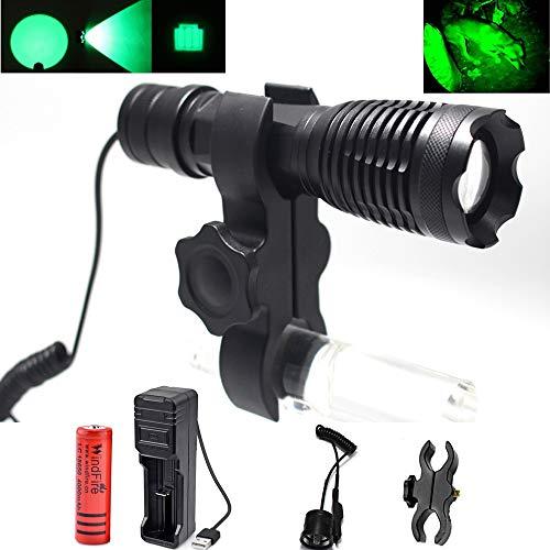 Linterna de Luz Verde, LED CREE Linterna Táctica de caza Recargable-350LM 250 Yardas Lámpara de luz de caza con Batería, Interruptor de Presión Remoto Uso para Coyote Hog Wild Pig