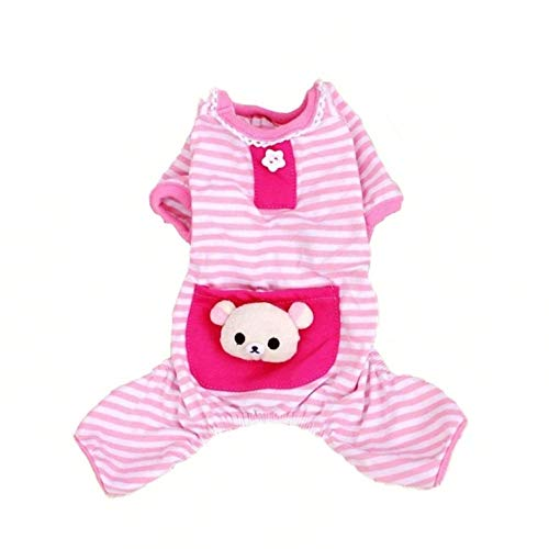 Pet Dog Pajamas Soft Cotton Shirt Jumpsuit Cute Overall Doggy Cat Strip Clothes Comfortable Apparel...