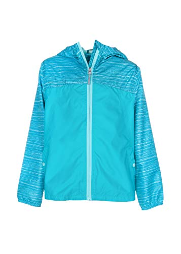 Arctic Quest Girl's Colorblock Windbreaker Jacket with Jersey Lining & Hood, Cove Teal, 7/8
