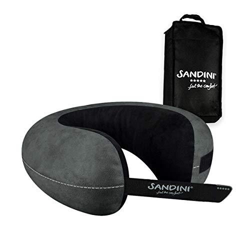 SANDINI TravelFix® Slim Size – Mikrofaser - Premium Reisekissen Made in EU/Nackenkissen mit ergonomischer Stützfunktion – Gratis Transporttasche mit Befestigungs-Clip