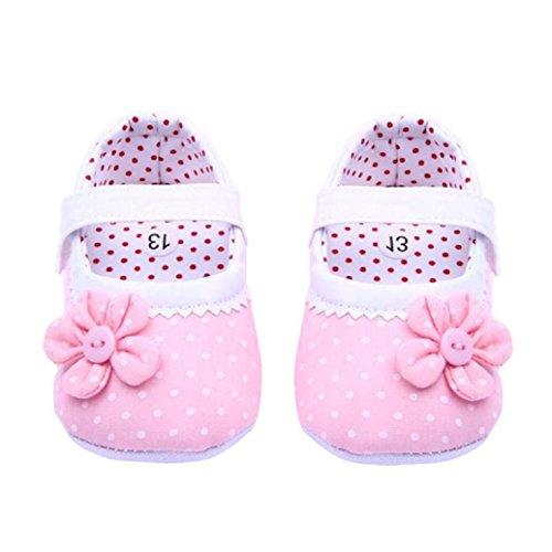 BZLine - Unisexe Bébé Fleur Chaussure à Motif Pois - Semelle à Tissu - Souple (6-12 Mois, Rose Clair)