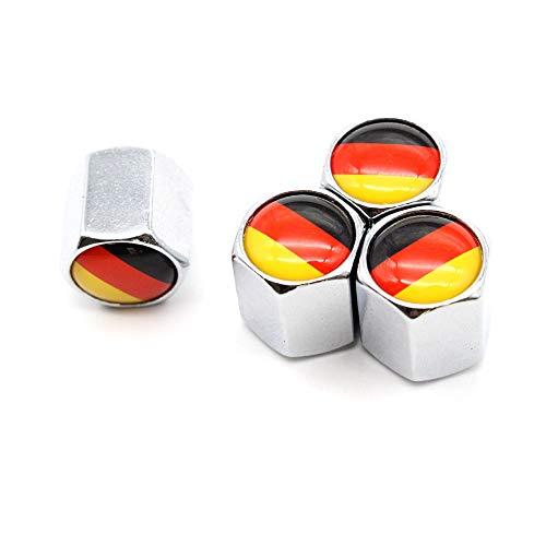 ZZMWLES 4 PCS/Set Aleación de Zinc Alemania Bandera Alemán Válvula de neumático Tapa Tapa Tapa Tallo Válvula de Aire Tapas para Auto Cars (Color : Silver)