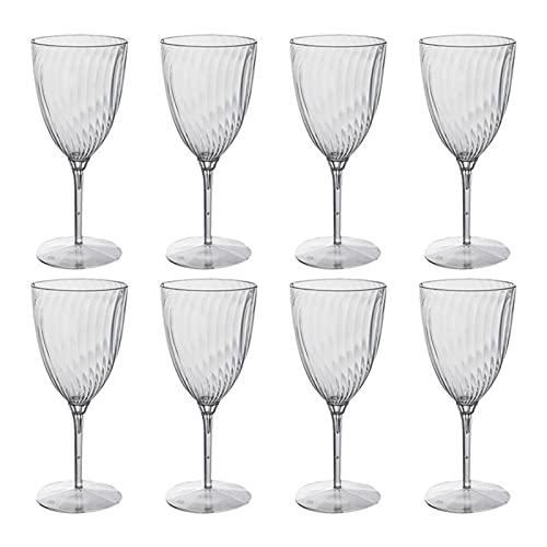 YKW 8pcs 240ml One-FF Tazas de Vino Tazas de plástico Copas para Beber para la Fiesta en casa