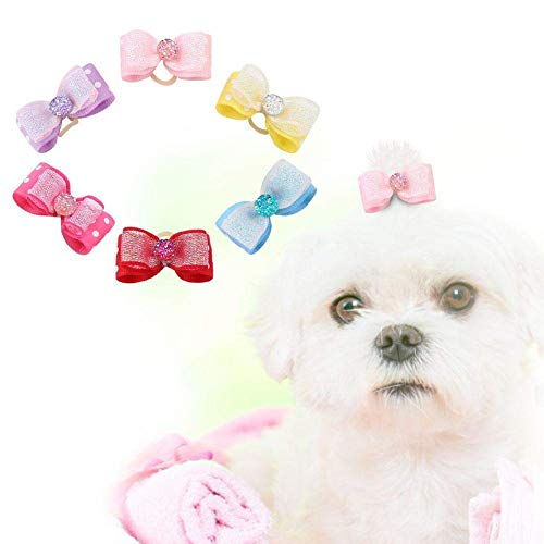 HEEPDD 30 STKS Huisdier Haartouw, Hond Kat Strik Elastische Haarbanden Kleine Huisdier Verzorging Accessoires met Shinning Strass voor Katten Honden Kitten Puppies