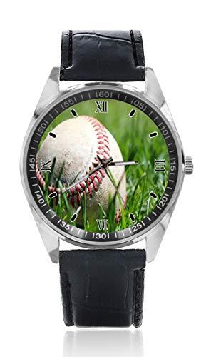 Baseball Grün Herren Leder Gürtel Uhr Einfache Klassische Stil Sport Uhr für Herren Schlichtes Design und Mode