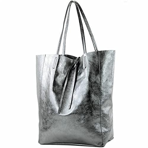 borsa in pelle Borsa donna Borsa shopper Borsa a tracolla grande in pelle T163, Colore:antracite metallizzato