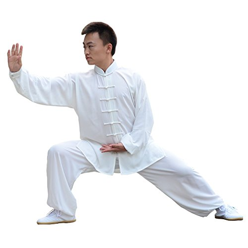 E-Bestar Unisex Kung Fu Anzug Damen und Herren Tai Chi Anzug Shaolin (WEIß, XXXL)