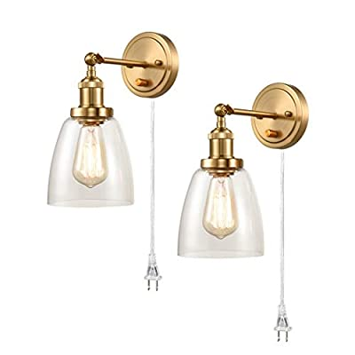CALXY Industrial Brass Swing Arm Wall Sconces Set of 2 Glass Hardwired or Plug-in Bath Bedroom Wall Lamps
