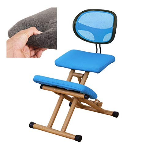 LIfav Kneeling Chairs, Posture Neck Massage Orthopedic Spinal Pain and Tension Relief, Wood Height Adjustable, for Home Office, Best Gift,Blue