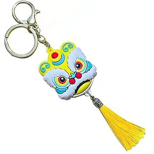 MHRZ Llavero de Danza de león auspicioso Estilo Chino, Llavero de Coche, Transferencia Segura y afortunada Yellow