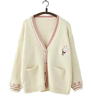 GK-O Mori Girl Kawaii Rabbit Japan JK Uniform Knit Cardigan Sweater Girl School Cosplay Sweater  White