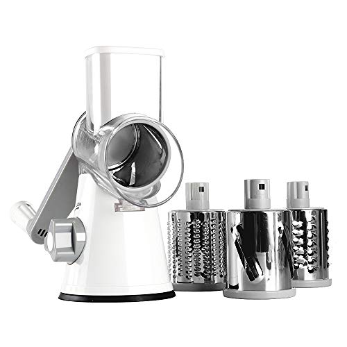 Ourokhome Cheese Grater Vegetable Slicer - Rotary Round Drum Grater Chopper with 3 Stainless Steel Drums Strong Suction Base