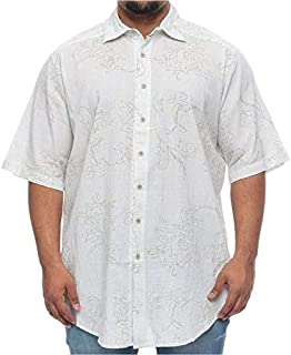 Synrgy Big and Tall Floral Over Print Khaki Short Sleeve Shirt for Men